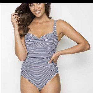 Blue and white striped Niptuck swim suit